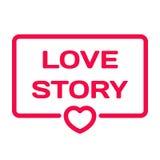 Icône plate de Love Story Timbre de bulle de dialogue de mariage avec le coeur Images libres de droits