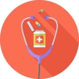 Icône plate de médecine Photos libres de droits