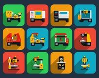 Icône plate de machines-outils spéciales