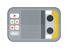 Icône plate de magnétophone ou de dictaphone d'isolement sur l'illustration blanche de vecteur de fond Photo stock