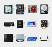 Icône plate de matériel informatique Photographie stock libre de droits