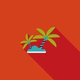 Icône plate de palmier avec la longue ombre Image libre de droits