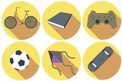 Icône plate de passe-temps avec la longue ombre Image stock