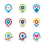 Icône plate de position sociale de la communauté Internet de repère de carte du monde moderne APP EPS10 Photos stock