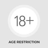 Icône plate de restriction d'âge Illustration Stock