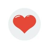 Icône plate de Saint Valentin rouge de coeur Photographie stock