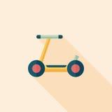 Icône plate de scooter avec la longue ombre Photo stock