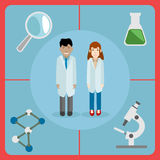 Icône plate de style d'une paire des scientifiques, du mâle et de la femelle Photos libres de droits