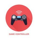 Icône plate de style de contrôleur de jeu Technologie du sans fil, signe de dispositif de jeu vidéo Illustration de vecteur de co illustration stock