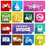 Icône plate de transport, color-08 lumineux Photographie stock