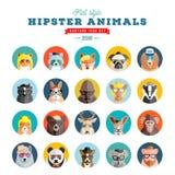 Icône plate de vecteur d'avatar d'animaux de hippie de style réglée pour le media ou le site Web social Portraits de faune Visage Image libre de droits