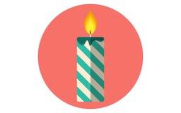Icône plate de vecteur de bougie de Noël Photo stock