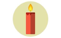 Icône plate de vecteur de bougie de Noël Images libres de droits