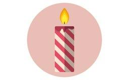 Icône plate de vecteur de bougie de Noël Images stock