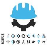 Icône plate de vecteur de casque de développement avec la bonification Photo stock