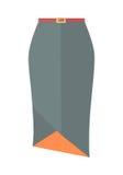 Icône plate de vecteur de Grey Pencil Skirt With Belt Image libre de droits