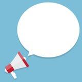 Icône plate de vecteur de mégaphone avec la bulle blanche illustration libre de droits