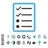 Icône plate de vecteur de page de liste de contrôle avec la bonification Photographie stock