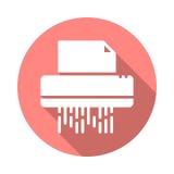 Icône plate du destructeur de documents Images stock