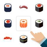 Icône plate Maki Set Of Eating, Maki, objets de Salmon Rolls And Other Vector Inclut également Rolls, Japonais, fruits de mer Images stock