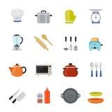 Icône plate polychrome de conception de vaisselle de cuisine. Photo stock