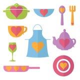Icône plate réglée d'illustration de cuisine Image libre de droits