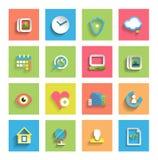 Icône plate réglée : icônes universelles Photographie stock libre de droits