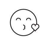 Icône positive de soufflement de sourire d'émotion de personnes de baiser de visage de bande dessinée illustration stock