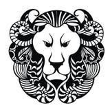 Icône principale de lion Tatouage Design Illustration de Vecteur