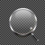 Icône réaliste de loupe sur le fond transparent Photographie stock