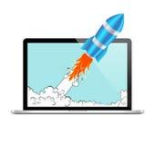 Icône réaliste de vecteur de Rocket et d'ordinateur portable Concept de démarrage comique ou de projet de développement Photos libres de droits