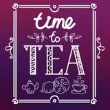 Icône réglée avec le thé dans le style plat Image stock