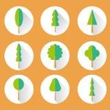 Icône réglée d'arbre plat Photos libres de droits