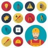 Icône réglée de l'électricité plate Outils électriques d'icônes, équipements et Photos libres de droits