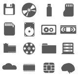 Icône réglée de stockage de données Photo stock