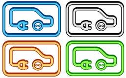 Icône réglée de voiture électrique Images libres de droits