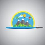 Icône rêveuse de vecteur de brosse de peinture dans le format plat de conception avec la pluie Image libre de droits