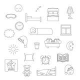 Icône rayée mince de sommeil Images libres de droits