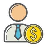 Icône remplie par investisseur d'ensemble, finances d'affaires illustration stock