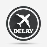 Icône retardée de signe de vol Symbole de retard d'aéroport Images libres de droits