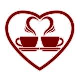 Icône romantique de datation avec deux tasses de café illustration de vecteur