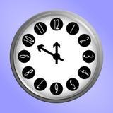 Icône ronde d'horloge murale Photographie stock libre de droits