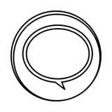 icône ronde de bulle de causerie de symbole de silhouette Photo libre de droits