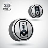 Icône ronde de vecteur audio du haut-parleur 3d Images libres de droits