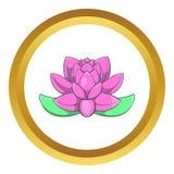 Icône rose de vecteur de fleur de lotus Images stock