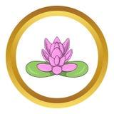 Icône rose de vecteur de fleur de lotus Image stock