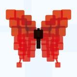 Icône rouge abstraite de papillon de vecteur d'isolement Images stock