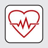 Ic?ne rouge de coeur avec le battement de coeur de signe Illustration de vecteur illustration libre de droits