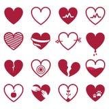 Icône rouge de coeurs réglée sur le fond blanc Illustr de vecteur Photographie stock libre de droits