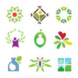 Icône saine de logo de soin de succès de nature de paysage vert olympique de feuille Images stock